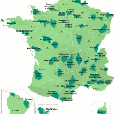 Carte des 51 PNR de France