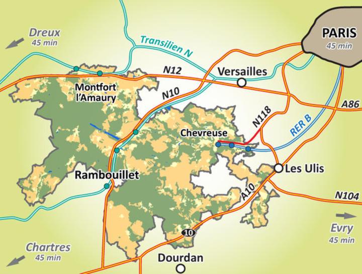 Carte des accès à la Vallée de Chevreuse